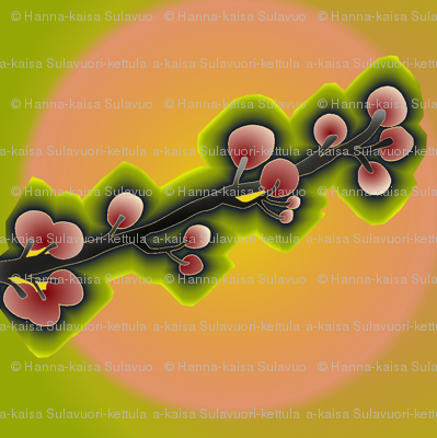 cherry_tree_branch_on_peach_and_lime