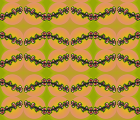 cherry_tree_branch_on_peach_and_lime fabric by vinkeli on Spoonflower - custom fabric
