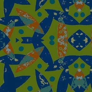 Birds in Flight  (blue,green,orange)