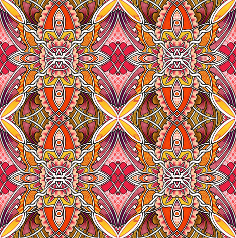 X Marks the Spots (orange) fabric by edsel2084 on Spoonflower - custom fabric