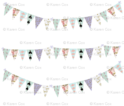 French Script  Bunting small 7 x 6