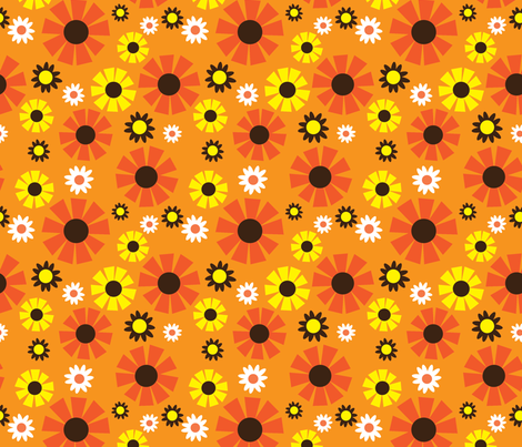 wallpaper flower (orange) fabric by mossbadger on Spoonflower - custom fabric
