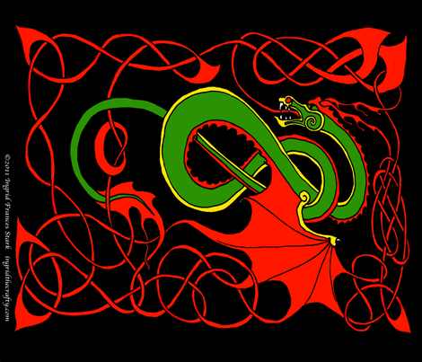 Red and Green Celtic Dragon on Black FQ fabric by ingridthecrafty on Spoonflower - custom fabric