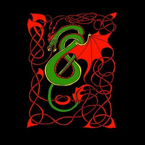 Red/Green Celtic Dragon on Black Small