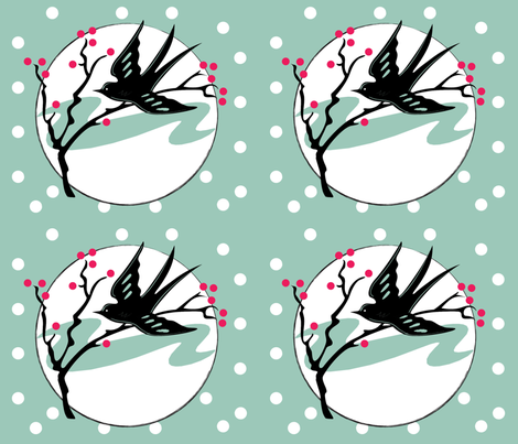 Bird, Branch and Berries fabric by trubludesign on Spoonflower - custom fabric