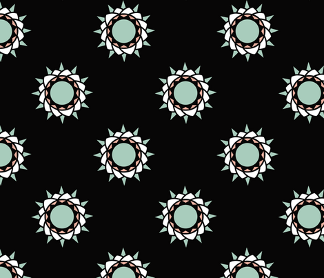 Floral print on black fabric by brandymiller on Spoonflower - custom fabric