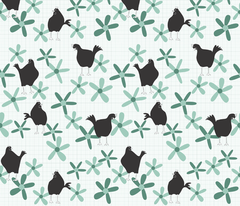 my birds and flowers fabric by shiny on Spoonflower - custom fabric