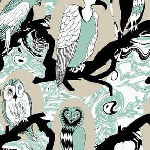 Birds of Prey in Spoonflower Blue, Black, White, and Silver