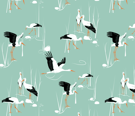 Storks fabric by newmomdesigns on Spoonflower - custom fabric