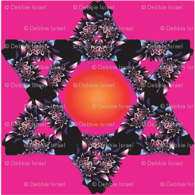 Floral Jewish Star with Sun Center on Magenta Background
