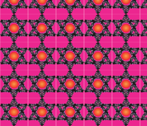 Floral Jewish Star with Sun Center on Magenta Background fabric by compugraphd on Spoonflower - custom fabric