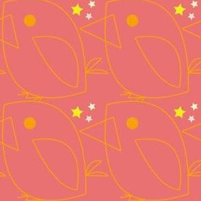 Orange star bird