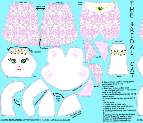 The Bridal Cat fabric by topfrog56 on Spoonflower - custom fabric