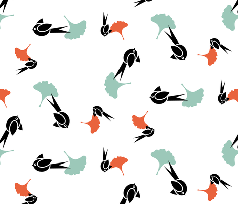 Japanese birds fabric by happy_to_see on Spoonflower - custom fabric
