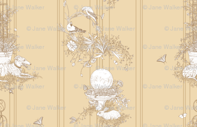 My Garden Toile Stripe Large - Khaki Beige ©2011 by Jane Walker