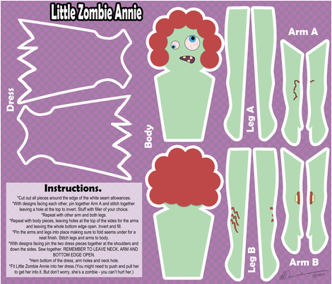 Little Zombie Annie (plushie pattern) fabric by leeleeandthebee on Spoonflower - custom fabric