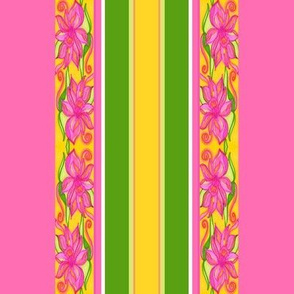 Bright Floral Lily stripes