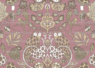 Autumn Damask Purple Brown
