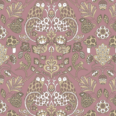 Autumn Damask Purple Brown fabric by teja_jamilla on Spoonflower - custom fabric