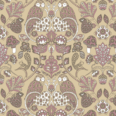 Autumn_Damask_Brown___Purple_by_Teja_Williams fabric by teja_jamilla on Spoonflower - custom fabric
