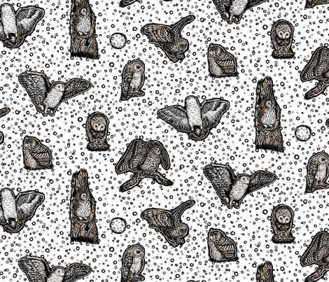 Owls_at_Dawn_by_Teja_Williams_half_drop_white_30x60_cm_repeat fabric by teja_jamilla on Spoonflower - custom fabric