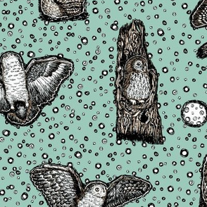 Owls_at_Dusk_by_Teja_Williams_half_drop_blue_30x60_cm_repeat