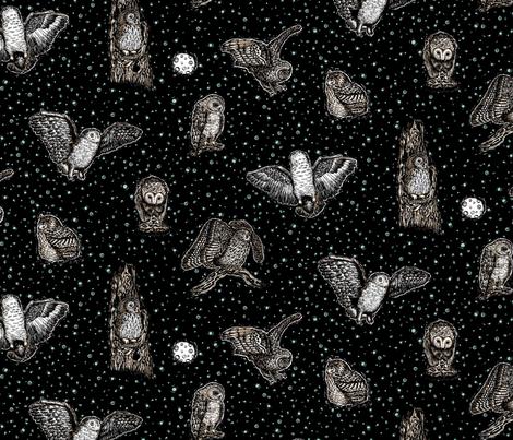 Owls_at_Midnight_by_Teja_Williams_half_drop_black_30x60_cm_repeat fabric by teja_jamilla on Spoonflower - custom fabric