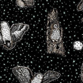 Owls_at_Midnight_by_Teja_Williams_half_drop_black_30x60_cm_repeat