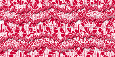 Christmas Lace - Holiday - White Red - Large