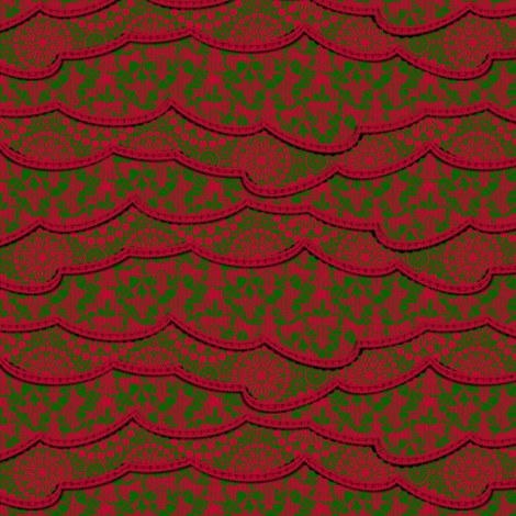 Christmas Lace - Holiday Red Green - Large fabric by glimmericks on Spoonflower - custom fabric