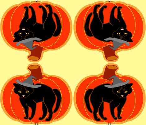 PumpkinBlackCatPillow fabric by grannynan on Spoonflower - custom fabric