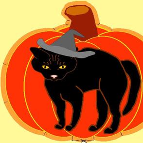 PumpkinBlackCatPillow