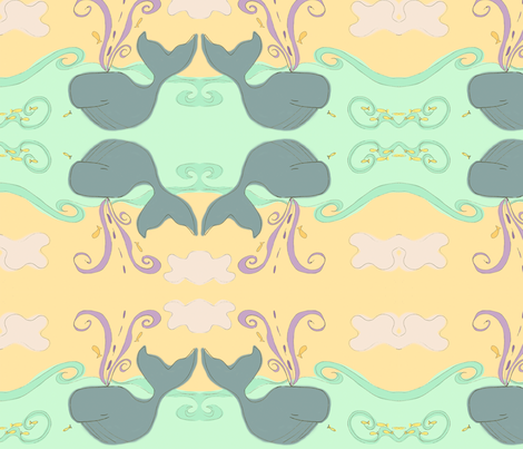 whimsical whale fabric by fable_design on Spoonflower - custom fabric