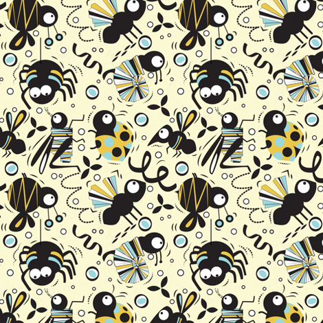Hole Punch Pals- Buggy Buddies fabric by gsonge on Spoonflower - custom fabric