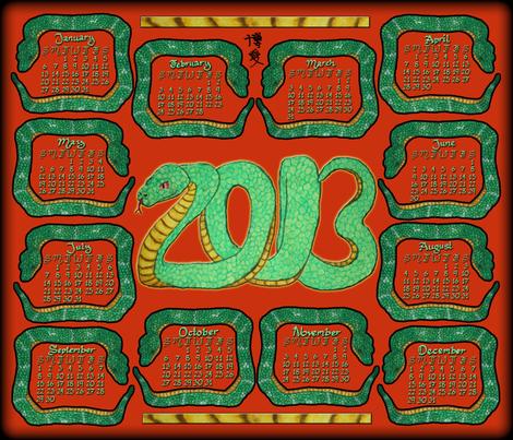 13 snakes for 2013 fabric by hakuai on Spoonflower - custom fabric