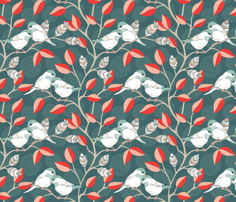 Love Birds - Twilight Palette fabric by pattysloniger on Spoonflower - custom fabric