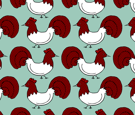 Red Rooster Repeat fabric by pond_ripple on Spoonflower - custom fabric