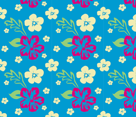 Aloha! Hawaiian Fabric in Blue fabric by brandymiller on Spoonflower - custom fabric