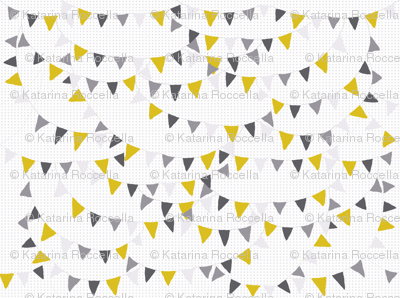 bunting yellow grey dashed