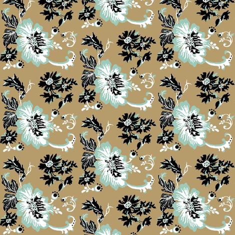 birds / khaki floral fabric by paragonstudios on Spoonflower - custom fabric