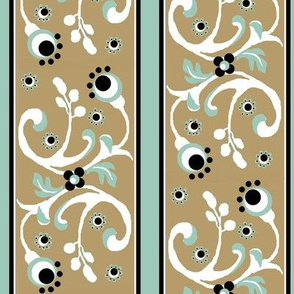 birds / khaki floral stripe