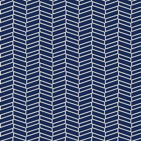 Modern Herringbone / Navy fabric by mjdesigns on Spoonflower - custom fabric