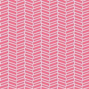 Modern Herringbone / Coral