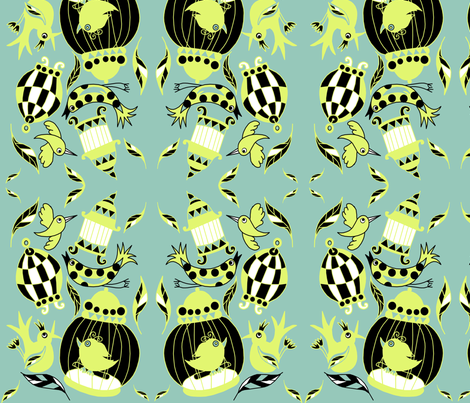 birdsandbirdcages_copy fabric by onehappyrobot on Spoonflower - custom fabric