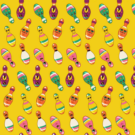 Monstrous Bowling Pins fabric by irrimiri on Spoonflower - custom fabric