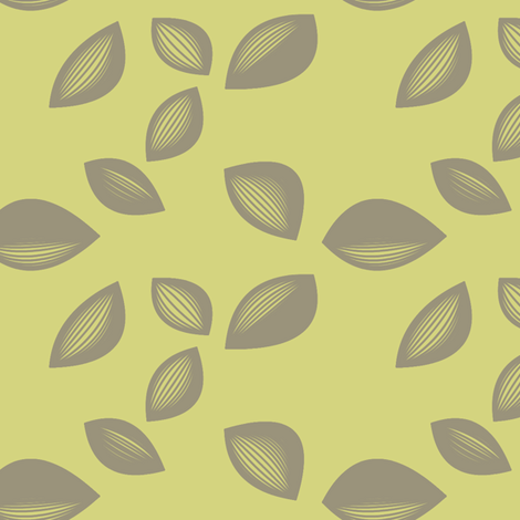 Falling Leaves in Olive and Grey fabric by bluenini on Spoonflower - custom fabric