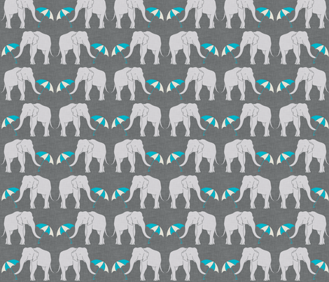elephant_and_umbrella_turquoise fabric by holli_zollinger on Spoonflower - custom fabric