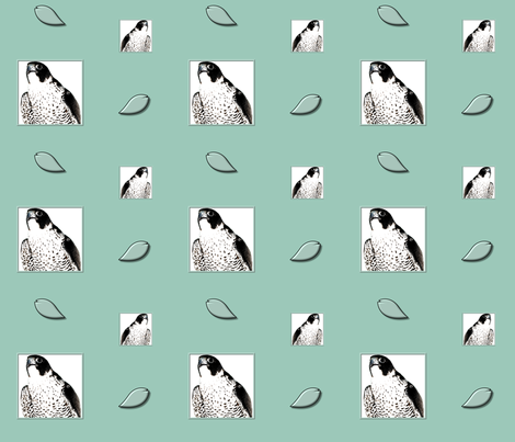 Peregrine Falcon and Floating Feathers fabric by artist4god on Spoonflower - custom fabric