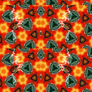 Kaleidoscope in red, orange and blue green