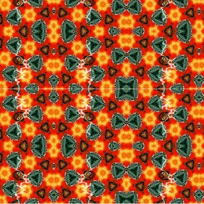 Kaleidoscope in red, orange, blue green, teal and yellow